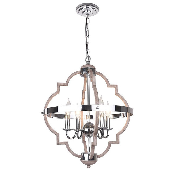 Mid-Century Candle Style Geometric Chandelier