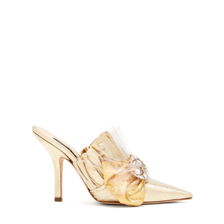 METTALIC RUCHED SATIN MULES