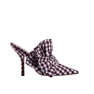 BUFFALO PLAID MARIE ANTONIETTE MULE WITH CRYSTAL MOON AND PEARL