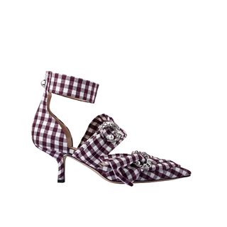 BUFFALO PLAID  KITTEN SLING PUMP WITH CRYSTAL MOON AND PEARL IN WHITE