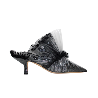 KITTEN MULE IN BLACK TULLE - PLUMETIS