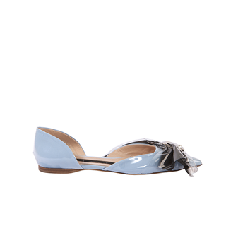 D'ORSAY FLAT BALLERINA IN BABY BLUE COTTON  AND BLACK BOW WITH METAL MOON AND PEARL