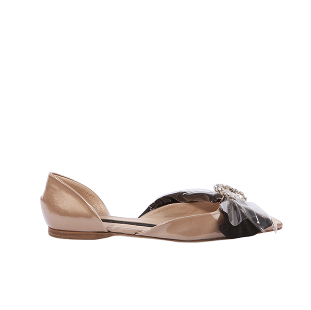 D'ORSAY FLAT BALLERINA ON TAN DUCHESSE AND  BLACK BOW WITH CRYSTAL MOON AND PEARL