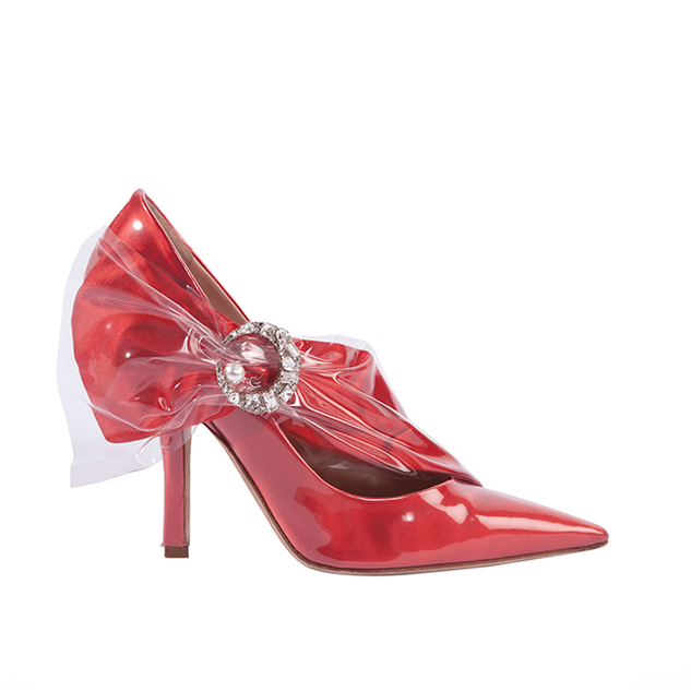 PUMP HELL IN CORAL DUCHESSE WITH CRYSTAL MOON AND PEARL