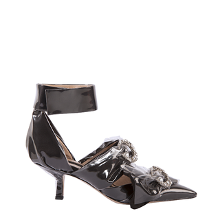 KITTEN HEEL SLING PUMP IN BLACK COTTON WITH  CRYSTAL MOON AND PEARL