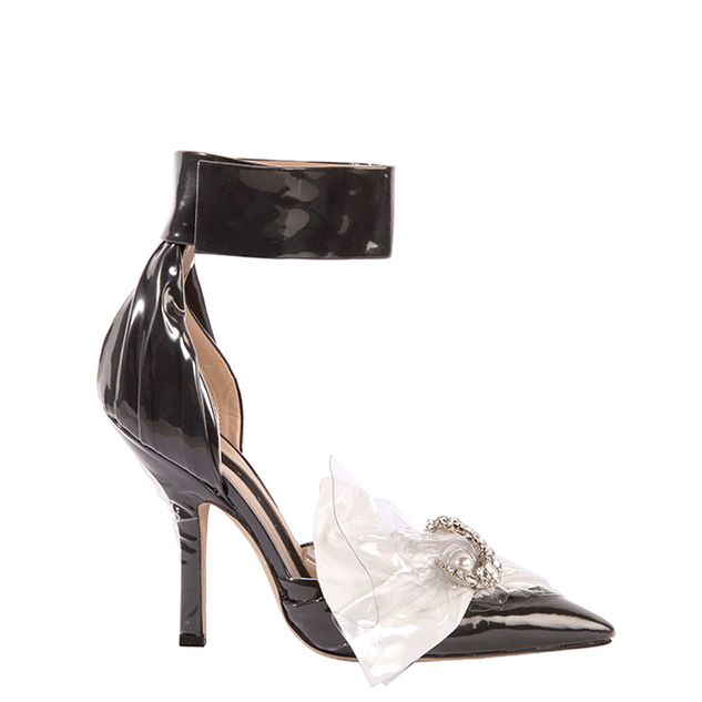 CORSET ANKLE PUMP IN BLACK COTTON AND WHITE BOW WITH CRYSTAL MOON AND PEARL