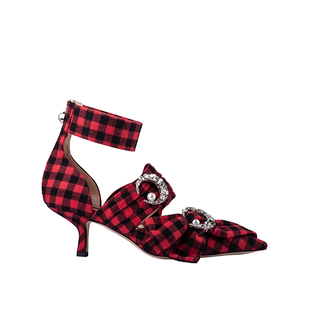BUFFALO PLAID KITTEN SLING PUMP WITH CRYSTAL MOON AND PEARL IN RED