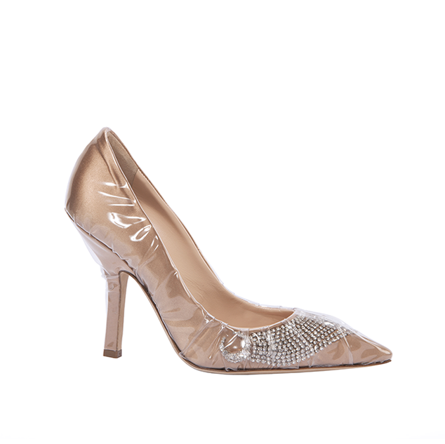 ICONIC PUMP IN TAN DUCHESSE AND CRYSTAL SHOOTING STAR