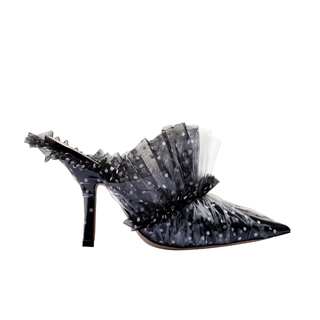 MULE IN BLACK TULLE - PLUMETIS - WHITE POLKA DOTS