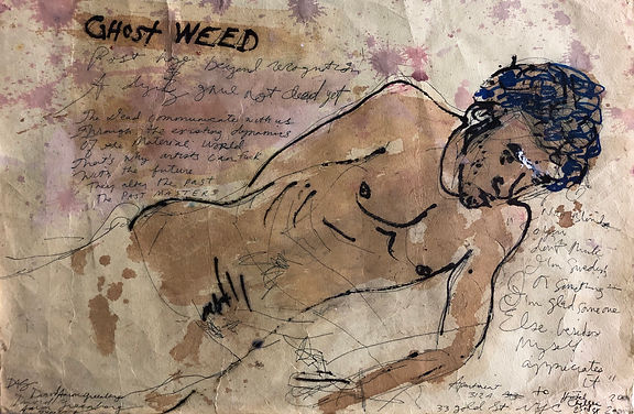 Ghost Weed 2000-2002 ink, soy sauce, cor
