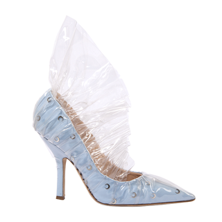 KITTEN HEEL SLING PUMP IN BLACK, WHITE  AND BABY BLUE COTTON WITH METAL MOON AND PEARL