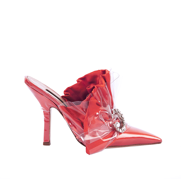 MULE IN CORAL DUCHESSE WITH CRYSTAL MOON  AND PEARL