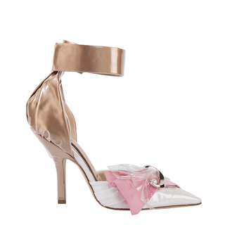CORSET ANKLE PUMP IN TAN DUCHESSE WHITE COTTON AND PINK  BOW WITH METAL MOON AND PEARL