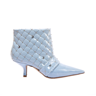 KITTEN HEEL BOOTIE IN PVC MATELASSÉ BABY  BLUE COTTON AND MOON STUDS