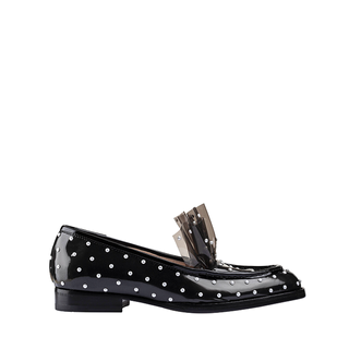 BLACK AND PEARL STUDS MIDNIGHT MOCASSINO