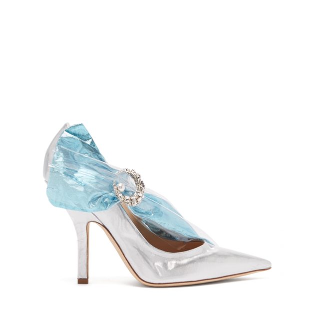 CRYSTAL-BUCKLE PVC AND LAME' PUMPS