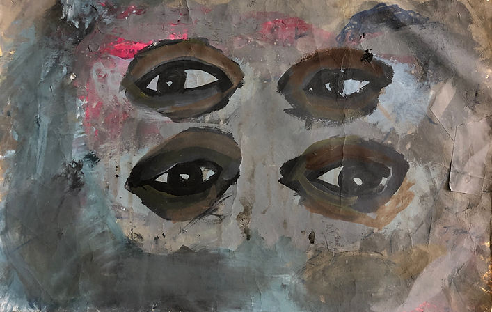 Double Vision 2015 acrylic and collage o