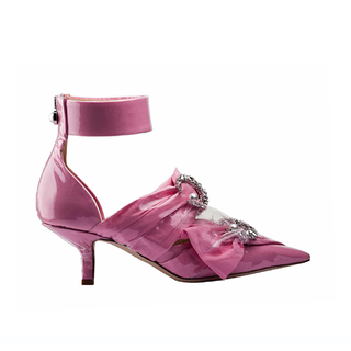KITTEN HEEL SLING PUMP IN PINK COTTON  CRYSTAL MOON AND PEARL