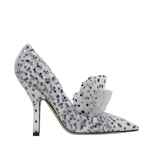 FRILL PUMP IN WHITE TULLE - PLUMETIS