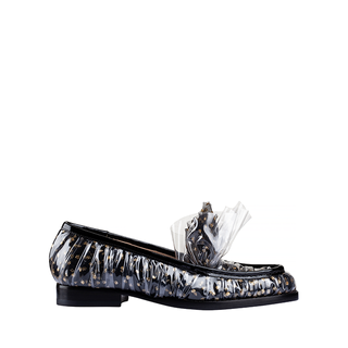MIDNIGHT MOCASSINO IN BLACK TULLE PLUMETIS AND GOLD