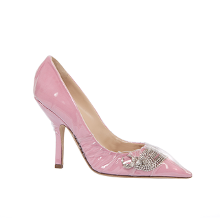 ICONIC PUMP IN PINK COTTON AND CRYSTAL SHOOTING STAR