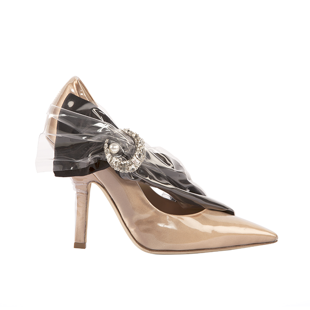 PUMP HEEL IN TAN DUCHESSE AND BLACK BOW WITH CRYSTAL MOON AND PEARL