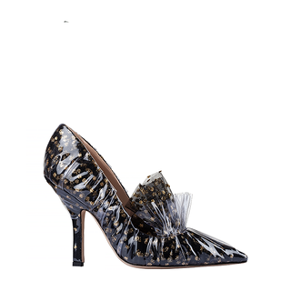 FRILL PUMP IN BLACK TULLE PLUMETIS AND GOLD