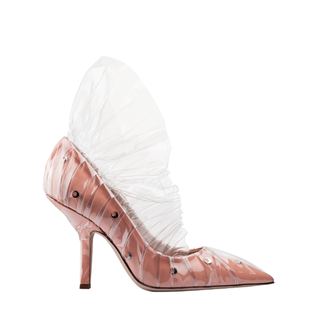 SHELL PUMP IN PEACH COTTON AND MOON STUDS