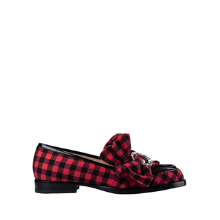 BUFFALO PLAID  MIDNIGHT MOCASSINO WITH CRYSTAL MOON AND PEARL
