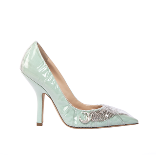 ICONIC PUMP IN LIGHT GREEN COTTON AND CRYSTAL SHOOTING STAR