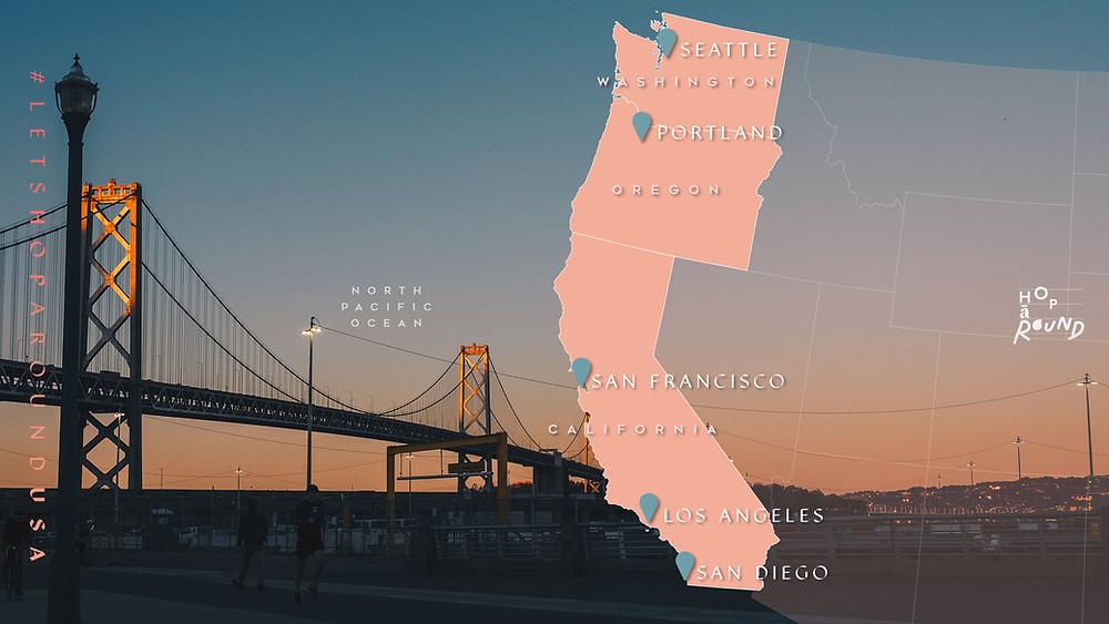 เที่ยวอเมริกา โรดทริป America West Coast Road Trip USA เที่ยวอเมริกาด้วยตัวเอง เช่ารถขับ รอบอเมริกา ซานฟรานซิสโก แคลิฟอเนียร์ ซีแอตเทิล ลอสแองเจลิส ซานดิเอโก้ พอร์ทแลนด์ Portland San Diego Los Angeles Seattle California ร้านอร่อย ร้านอาหาร คาเฟ่ ช็อปปิ้ง ชอปปิ้ง จุดน่าแวะในอเมริกา ขับรถรอบอเมริกา