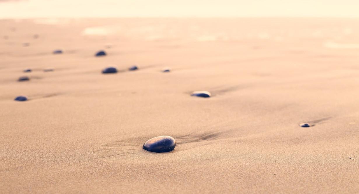 Seixos na areia