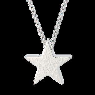 Embossed Star pendant for ash/hair. Stainless Steel.