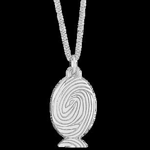 Large Fingerprint oval pendant. Available as square