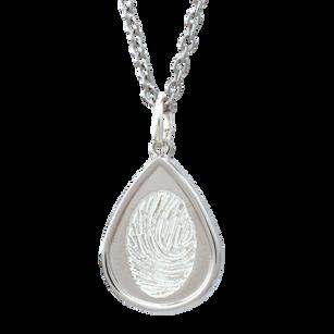 Fingerprint Teardrop pendant. Silver/Gold.