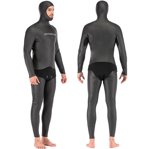 DIVESTAR 2.5mm Black Full Smoothskin Wetsuit with Hood
