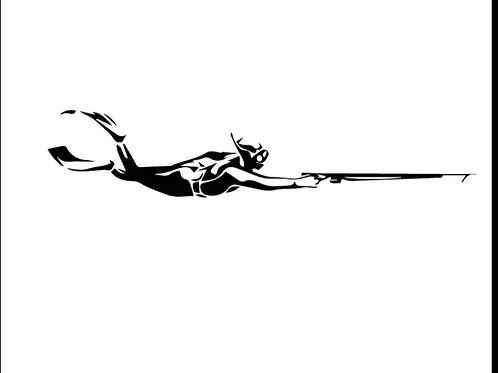 Car sticker -Spearfishing diver