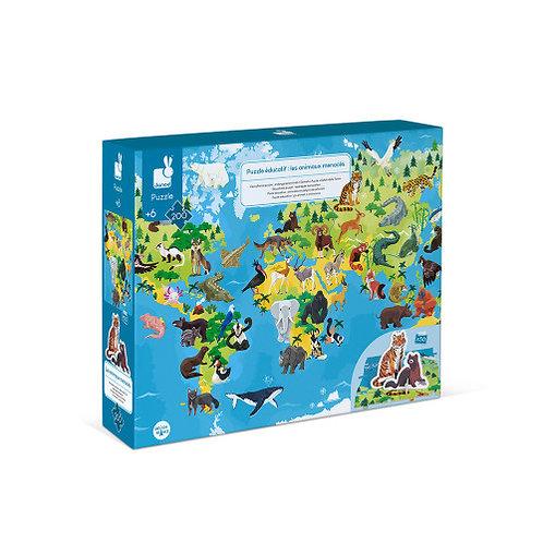 Puzzle éducatif géant Les animaux menacés 200 pièces