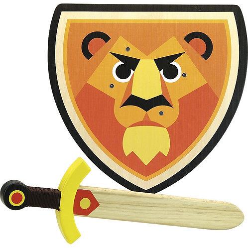 Set bouclier et épée en bois lion Vilac