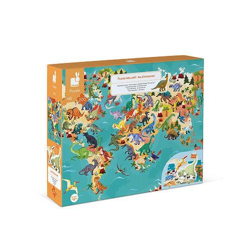 Puzzle éducatif géant  les dinosaures 200 pièces