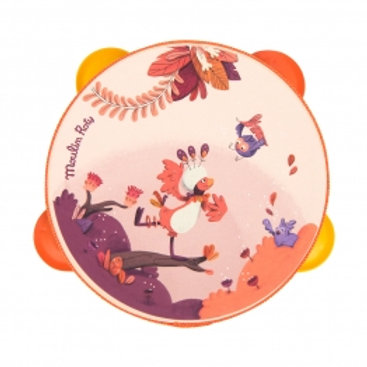 Tambourin corail Paloma Dans la jungle Moulin Roty