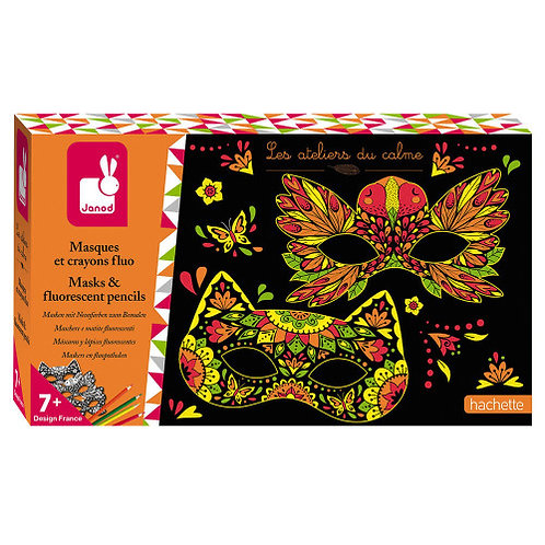 Kit créatif masques et crayons fluo Janod