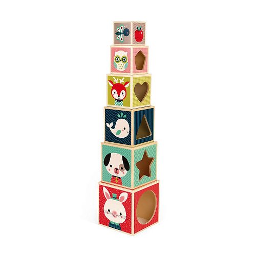Pyramide 6 cubes Baby Forest Janod