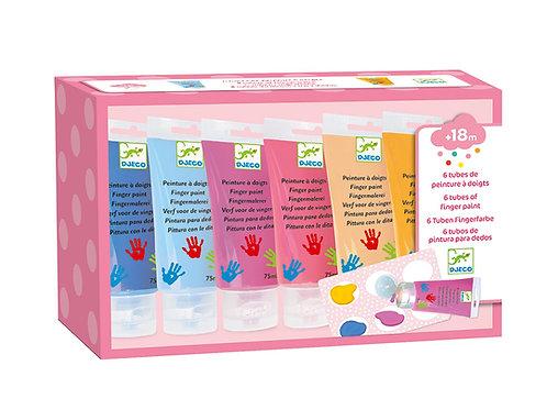 6 tubes de peinture à doigts Djeco (boîte bleue)