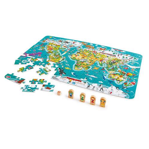 Puzzle et jeu 2 en 1 Tour du monde Hape
