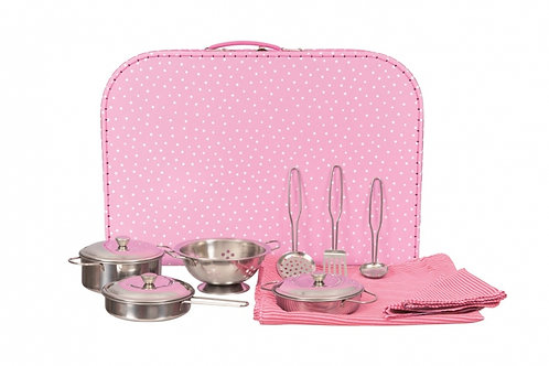Set de casseroles et passoire en métal dans une valise rose Egmont Tous