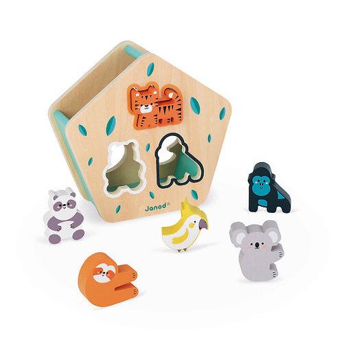 Boîte à formes des animaux en bois