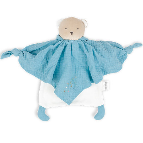 Doudou plat Petit pas ourson bleu bio Kaloo