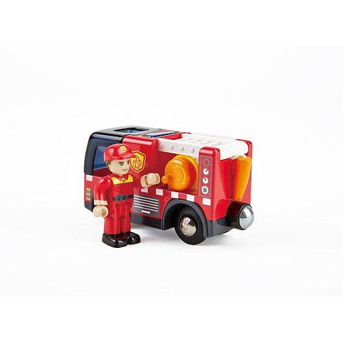 Camion de pompiers avec sirène