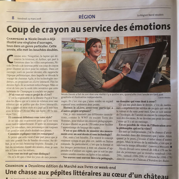 Article sur Nicole Devals par dans le journal Région Nord vadois